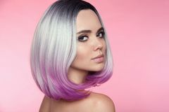 Free Ombre Bob Short Hairstyle. Beautiful Hair Coloring Woman. Trendy Royalty Free Stock Photo - 128565585