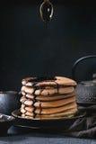 Ombre chocolate pancakes Stock Photos