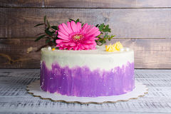 Ombre  cream cheese cake with pink gerbera and eucalyptus Royalty Free Stock Photos