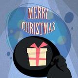Ombre de boîte de Santa Claus Bag With Present Gift Photographie stock libre de droits