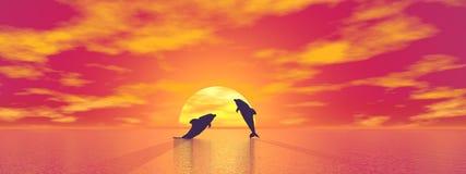Dauphins par coucher du soleil - 3D rendent illustration stock