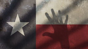 Ombre de main sur Texas Flag Image stock