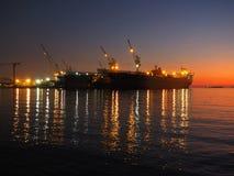Ombre de mer de coucher du soleil de fond Photo libre de droits