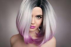 Ombre koczka fryzury blondynki dziewczyny portret Purpurowy makeup Beautif zdjęcia stock
