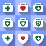 Ombre piane delle icone mediche Fotografia Stock Libera da Diritti