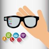 ombre portable d'application de technologie en verre de vr Images libres de droits