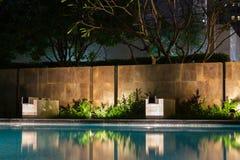Ombre romantiche della colata di illuminazione di umore di sera su una s romantica Fotografie Stock