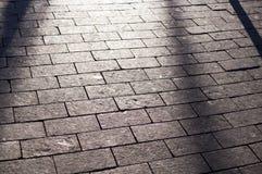 Ombre sul marciapiede pavimentato mattonelle con la prospettiva fondo, illuminazione fotografie stock libere da diritti