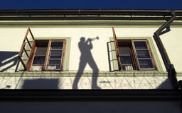 Ombre sulla parete Fotografia Stock Libera da Diritti