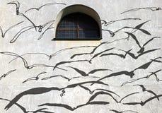 Ombre sulla parete, uccelli Fotografia Stock