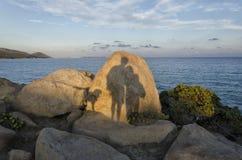 Ombre sulle rocce Fotografia Stock