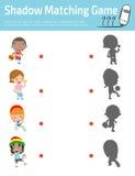 Ombreggi il gioco per i bambini, gioco visivo della corrispondenza per il bambino Colleghi i punti l'immagine, illustrazione di v royalty illustrazione gratis