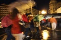 Ombrelli Colourful sotto pioggia Fotografie Stock