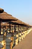 Ombrelli di spiaggia della paglia Immagini Stock