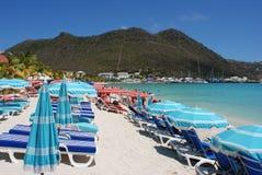 Ombrelli di spiaggia di Philipsburg Immagine Stock