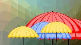 Ombrelli multicolori volanti su fondo poligonale in pioggia, introduzione di previsioni del tempo, illustrazione vettoriale