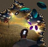 Ombrelli nel paesaggio bizzarro illustrazione vettoriale