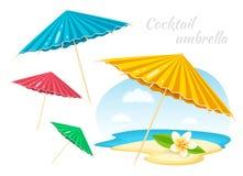Ombrelli variopinti con il fiore di plumeria Attributo di vacanza di ora legale Elemento della decorazione illustrazione di stock