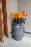 Ombrelli in vaso Fotografie Stock