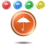 Ombrello, bottone, illustrazione 3D Fotografie Stock Libere da Diritti
