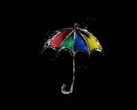 Ombrello colorato dell'acqua sul nero Immagini Stock