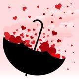 Ombrello con il disegno di amore Fotografia Stock
