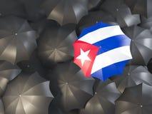 Ombrello con la bandiera della Cuba illustrazione di stock