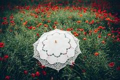 Ombrello d'annata nel campo dei papaveri Fotografia Stock Libera da Diritti