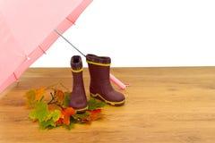 Ombrello degli stivali di gomma del bambino Fotografie Stock Libere da Diritti