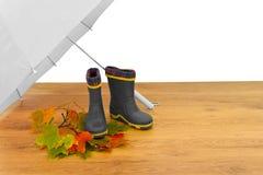 Ombrello degli stivali di gomma del bambino Fotografia Stock