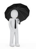 Ombrello del nero della stretta dell'uomo d'affari Fotografia Stock