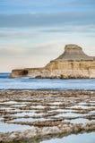 Ombrello della paglia sulla spiaggia di sabbia Fotografie Stock