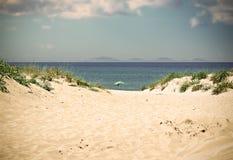 Ombrello di spiaggia da solo sotto il cielo blu nell'effetto d'annata fotografia stock libera da diritti