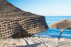 Ombrello di spiaggia naturale (1) Fotografie Stock Libere da Diritti