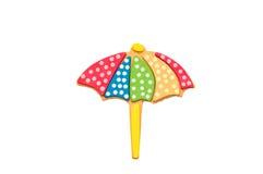 Ombrello di spiaggia su bianco Fotografie Stock
