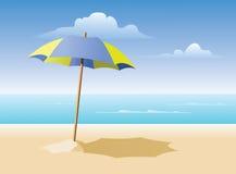 Ombrello di spiaggia sulla spiaggia Fotografie Stock