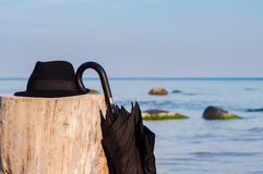Ombrello e cappello neri Fotografia Stock