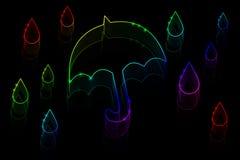 Ombrello e pioggia al neon Immagine Stock Libera da Diritti