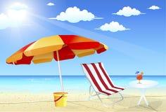 Ombrello e presidenze di spiaggia Fotografia Stock Libera da Diritti