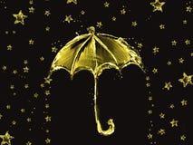 Ombrello e stelle dorati dell'acqua Immagine Stock
