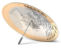 Ombrello fatto di euro moneta Fotografie Stock Libere da Diritti