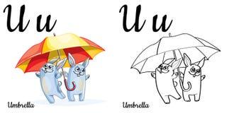ombrello Lettera U, pagina di coloritura di alfabeto di vettore Illustrazione Vettoriale