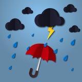 ombrello nell'aria con la nuvola e la pioggia stile di carta di arte Proietta il modello per l'affare Arte ed illustrazione di ve Immagine Stock Libera da Diritti