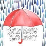 Ombrello rosso dell'acquerello sotto la domestica della pioggia nel vettore Fotografia Stock