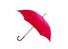 Ombrello rosso isolato su bianco Fotografia Stock