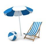 Ombrello, sedia e palla di spiaggia Immagini Stock