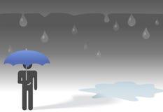 Ombrello triste della persona di simbolo di giorno piovoso Fotografia Stock
