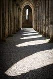 Ombres au coucher du soleil créé par des bistouris de cathédrale de San Galgano photos stock