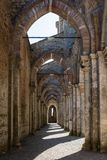 Ombres au coucher du soleil créé par des bistouris de cathédrale de San Galgano images libres de droits