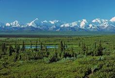 Ombres de début de la matinée sur la chaîne d'Alaska photographie stock